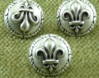 Ancient Rome Roman French Fleur De Lis Antique Silver Buttons  C25