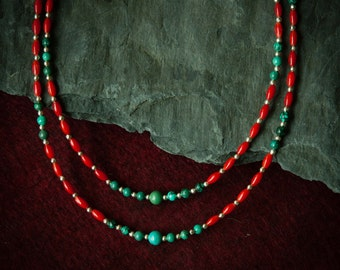Jewelry for Bema Coral, Turquoise and Silver Bead Necklace