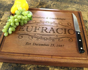 Personalized Chopping Block, 12x15~1&3/4 thick Walnut/Cherry/Sapele, Engraved Butcher Block  - Wedding, Anniversary, Housewarming Gift.002