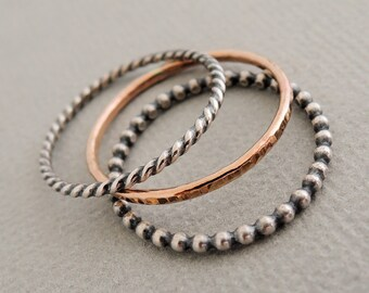 1 Rose Gold Ring and 2 Oxidized Sterling Silver Rings 3 mixed metal stacking rings rustic boho chic