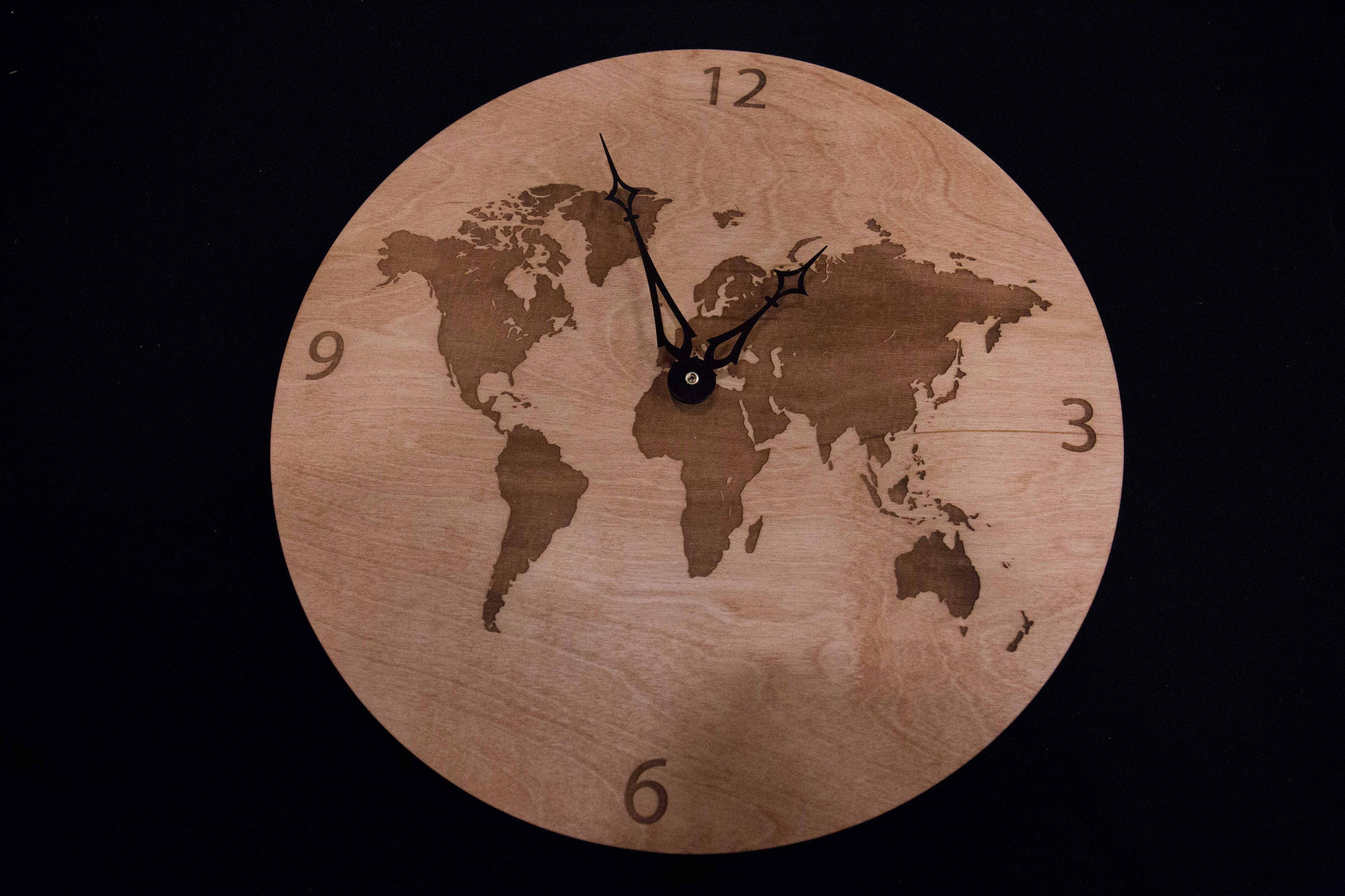 World map wooden clock description this is a world map wooden clock gumiabroncs Images