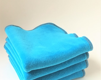 Organic Luxury Velour Washcloth Turquoise Blue, Available in Two Sizes, 2 Ply