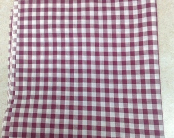 "Burgandy, Wine, Maroon medium square NOS gingham, 34"" length and 36"" wideth"