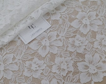 Off white lace fabric French Lace Alencon Lace Lingerie Wedding Dress Lace White Lace Embroidered Mantilla Veil Lace Scalloped lace L87880