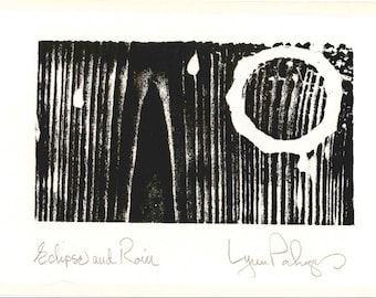 """Original Design Woodcut Print """"Eclipse and Rain"""" Greeting Card with Envelope, Hand Pulled, Open Edition"""