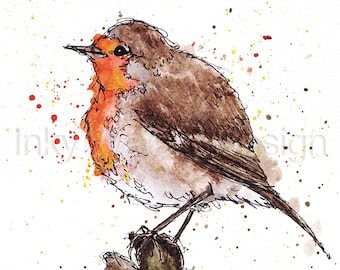 Original Robin bird Watercolour painting giclee Print