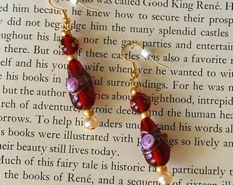 Red Lampwork Glass Bead Earrings