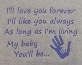 I Will Love You Forever  Embroidery Design -2 Designs - 5x7 - Custom Phrases Welcome