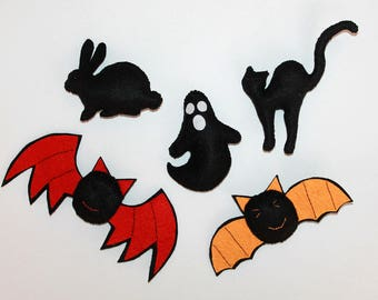 halloween cute felt ornaments - halloween gift - felt bat -elt rabbit - halloween black felt ornaments - hallowen black decor