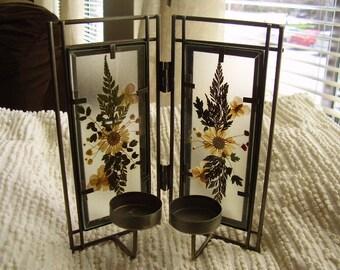 Vintage Glass/Metal Pressed Flower TEA CANDLE HOLDERS