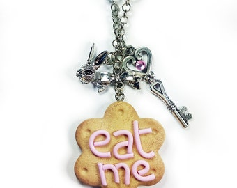 Cute Polymer Clay Eat Me Pendant - Alice in Wonderland Inspired