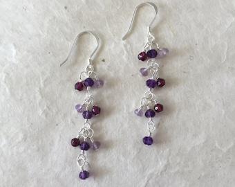 Amethyst Garnet Pink Amethyst Sterling Silver Dangle Earrings, Sundance Style, February Birthstone, February Birthday, Elegant Earrings