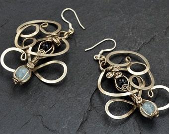 Art Nouveau Earrings, Aquamarine Earrings, Wire Wrap Earrings, Dangle Earrings, Aqua Blue Earrings, Dangly Earrings, Gemstone Earrings