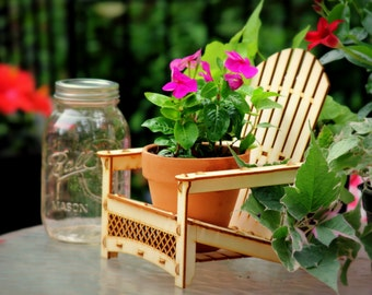 Adirondack Chair. Outdoor Planter, Drink Holder, Beach Buddy, Table Centerpiece, Party Decorations, etc. DIY wood kit you snap together.