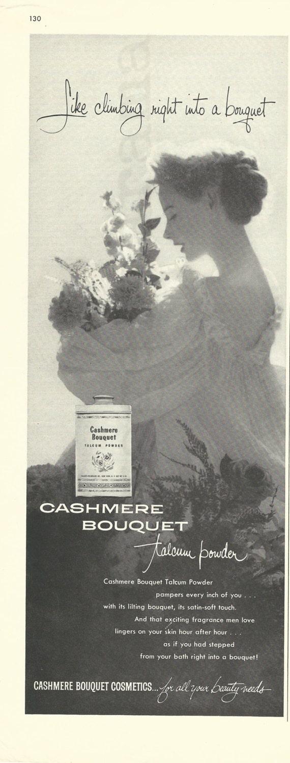 CASHMERE BOUQUET Talcum Powder Original 1957 Vintage Black &