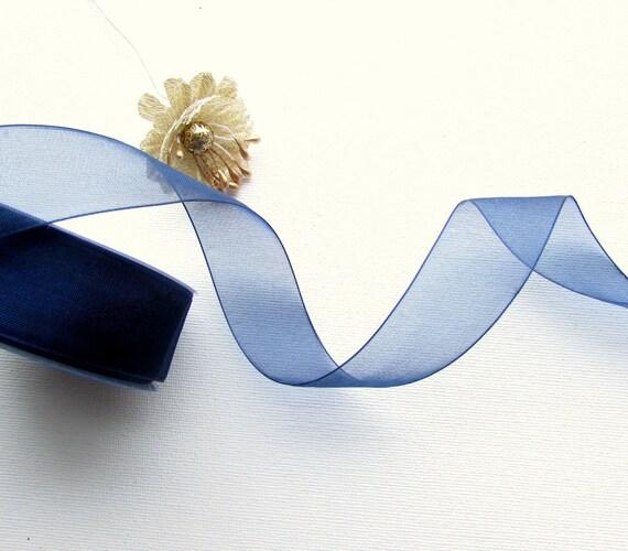 25 yrd Reel navy blue organza ribbon 25mm  Blue sheer ribbon whole reel 25 yards. UK seller