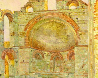 """Watercolor painting """"Picturesque ruins of the church """""""