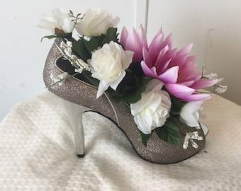Silk Floral Arrangement in Sparkle High Heel Shoe Pink White