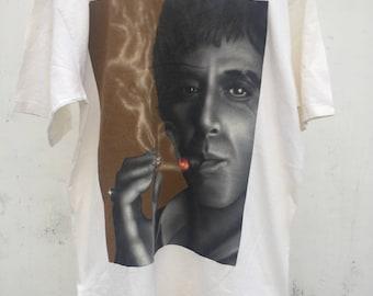 Scarface vintage tshirt size L WHITE tshirt graphic tshirt 1990s 1980s 90s 80s