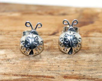 Sterling Silver Ladybird Earrings - Handmade silver earrings - 925 sterling silver earrings - silver stud earrings - Ladybird earrings - ME1
