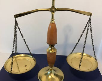 Vintage Brass and Wood Lady of Justice Scales, Law Study Decor, Law Student Gift, Shabby Chic ManCave Decor Hostess Gift Housewarming Gift