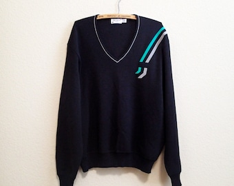 St Croix Mod Sweater - Suede Accents XL - Black Wool Sweater