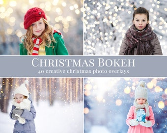 """Bokeh photo overlays """"Christmas Bokeh"""",  Christmas photo overlays, holiday photo overlays for Photoshop, lights overlays, bokeh overlays"""