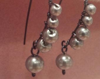 Pearl wrapped earrings