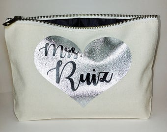 Personalized Makeup bag- cosmetic  bag-  Valentines gift-Mother's day-  Pouches - wedding favor- unique gift- Personalized cosmetic bag