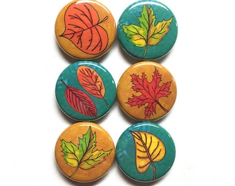 Leaf Magnets or Leaf Pins - 1 inch fall leaves magnet set, autumn leaves pinback button set, fall decoration, fall accessories, thanksgiving