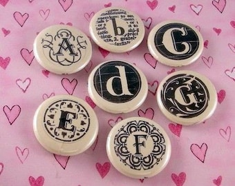 Initial Letter Alphabet One Inch Button Magnets or Pin Backs Set of 7 Letters YOU CHOOSE LETTERS