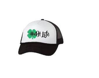 4h Life Hat Trucker Hat Glitter Gold or Blue - Trucker hat, Womens hat. Beach hat. Hawaii hat. Mesh Back