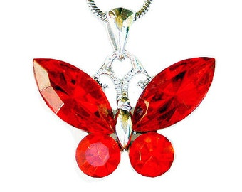 Swarovski Crystal Hot Red BUTTERFLY Bridal Wedding Charm Pendant Chain Necklace Jewelry Best Friend Mother's Day New Christmas Gift Cute