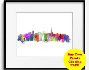 Aucland Skyline Watercolor Art Print (351) Cityscape New Zealand