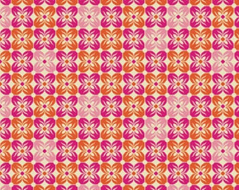 Square Petals in Tangerine from Notting Hill by Joel Dewberry, 100% Cotton Quilting Fabric Apparel, 1 Yard Cu