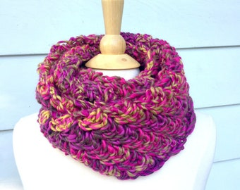 Bright pink scarf, pink and green scarf, crochet endless scarf, crochet infinity scarf, pink infinity scarf, crochet loop scarf