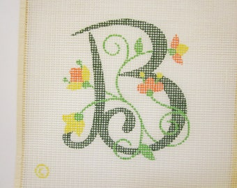 Green Initial B With Orange and Yellow Flowers, Hand Painted Needlepoint Canvas, monogram
