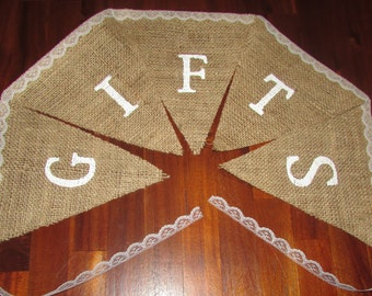 "Burlap/lace ""Gifts"" banner. Bridal shower, baby shower, wedding signs"