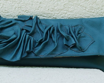 Teal Turquoise and Wristlet with Scrunched Leather Accent