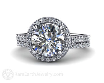 Moissanite Bridal Set Engagement Ring Wedding Band Moissanite Ring Diamond Halo 14K or 18K Gold Conflict Free Wedding Set