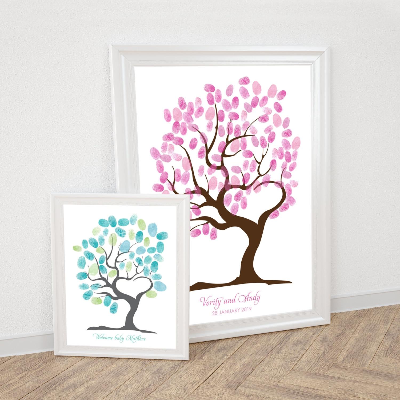 Wedding Tree Fingerprint Tree Thumb Print Guest Book: Tree Of Love Fingerprint Guest Book Printable Wedding
