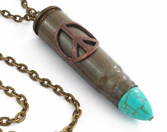 A Chance at Peace Bullet Necklace Jewelry - Recycled Bullet Necklace - Extra Long Chain
