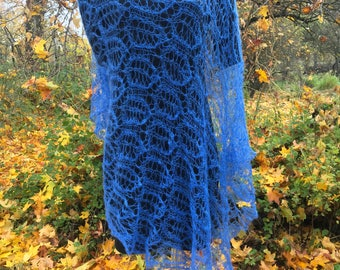 Hand knitted mohair scarf, lightweight lace shawl, wedding shawl, blue lace mohair scarf, leaf pattern, gstola, ift for woman