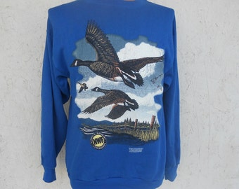 National Wildlife Federation Sweatshirt 1990's Canadian Honkers Geese Crew Neck L