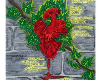 "Fine Art Print ""Gort: The Sacred Heart of Ivy,"" Signed, Matted, and Backed, Symbolist, Visionary Art"