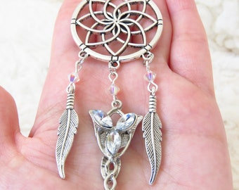 Arwen Evenstar Dreamcatcher, LOTR, Elven Jewelry, Swarovski Jewelry, Boho necklace, Arwen Evenstar.