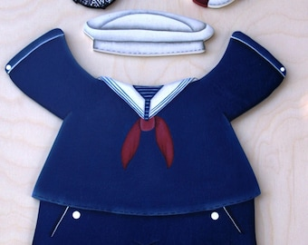 "Sailor - Navy Outfit  - Wood ""Seasonal Bear/Dog/Cat"" Outfit - Interchangeable Outfit"