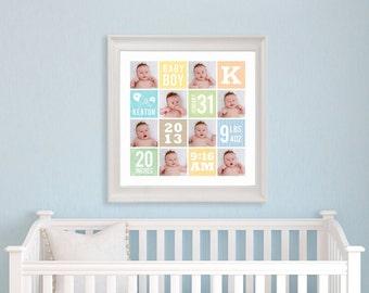 Baby Subway Art, Nursery birth print, Nursery Decor, Baby Shower gift, Baby Keepsake. digital file