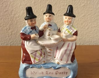 Antique Welsh Fairing Figurine- Welsh Tea Party Figurine- Late 1800's German Made Porcelain Welsh Tea Party Figure