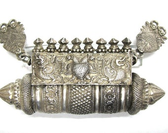 "Antique South Indian Amulet Box, Karnataka, Indian Prayer Box, Taweez, Taviz, 11.5cm  (4 5/8""), 131.4 Grams, Ethnic and Tribal Jewellery"